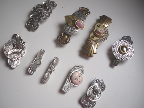 Antique Silver and Brass Barrettes and Brooches